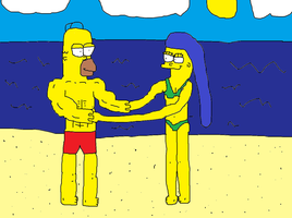 Beach Couples 3- Homer and Marge by Simpsonsfanatic33
