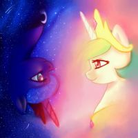 Princess Celestia and Princess Luna by Iris1039