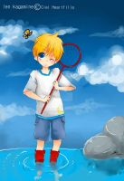 Len with Butterflys :D by Ciel-Heartfilia