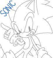 LineArt of Sonic by SonicForTheWin2