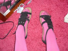 Pink Tights and Black Sandals by ChibiRinzler-Chan