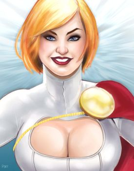 Power Girl and cleavage by DarthTerry