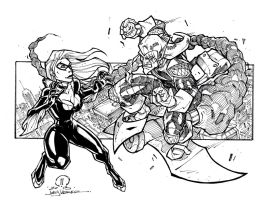 Black Cat vs Green Goblin sketch by JoeyVazquez
