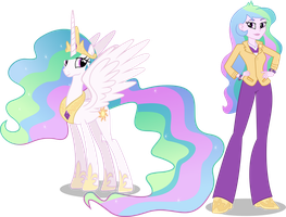 Princess Celestia and Principal Celestia by Vector-Brony