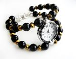 Silver Quartz Bracelet Watch - Black and Gold by crystaland