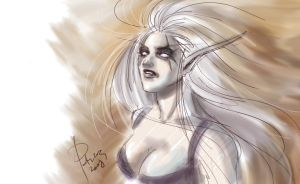 Night Elf Color Sketch by SicilianValkyrie