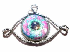 Pink and blue eye tin pendant by glo0bule
