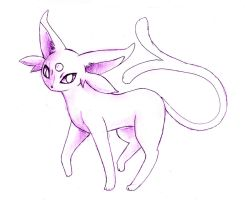 Espeon sketch by shiroiwolf
