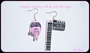 Kawaii camera,roll and ciak earrings by Bojo-Bijoux