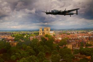 Lancaster Over The Minster by RWTA
