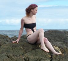 Beach Bathers Sitting Stock by Gracies-Stock