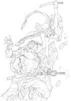 Shwann fight pencils by Alex0wens