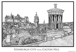 Edinburgh City from Calton Hill (HiRes) by AHamiltonSketches