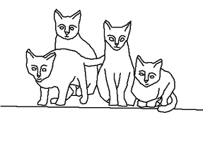 four cats - line art by Harry-Potter-Addict