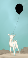 A goat with a balloon by printscreen-kii