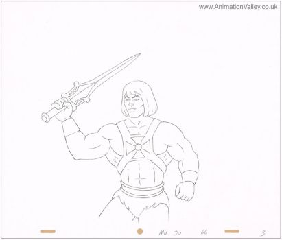 Original Hand Drawn He-Man cel drawing by AnimationValley