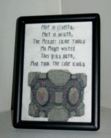 Companion Cube Cross-stitch by Craftigurumi