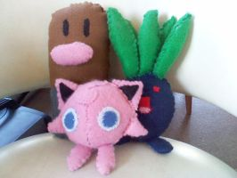 Diglett, Jigglypuff and Oddish by mirageant