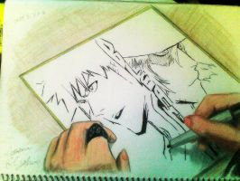 Drawing of Tite Kubo drawing a drawing by frost1993