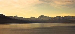 Lake and freakishly alp-like mountains by christelburger