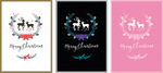 3 deer christmas cards: white, black, and pink by thefieldfox