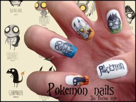 Pokemon Tim Burton Style Nails by JawsOfKita-LoveHim