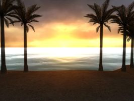 Beach sunset HDR render by Captain-Nintendork