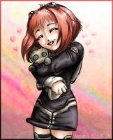 Momo Hugging a Ziggy Plushie by Lady-Nightmare