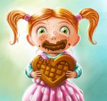 Girl with chocolate by fredziq