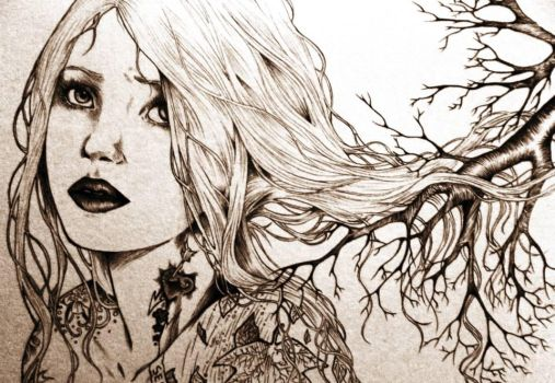 girl with forest by the1illustrator
