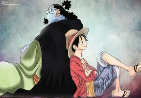 Luffy and Jinbei 2 by KrlTheKing