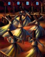 Whirling Dervishes (After Mahmoud Said, 1900) by Lance-Daniel-Smith