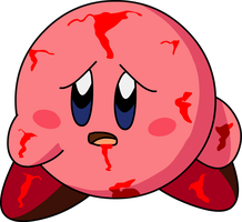 Injured Kirby 1 - with blood by KingAsylus91