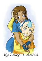 Katara and Aang by kolidescope