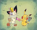 meowth and pikachu by Gashi-gashi