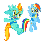 Lightning Dust and Rainbow Dash vector by Missy12113