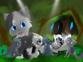 Swift stream and her kits by Spottedheart140