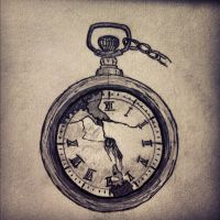 pocket watch tattoo design by caiyo474