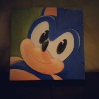 Classic Sonic painting by Mitzy-Chan