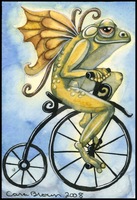 Winged Frog Fairy on Bicycle by candcfantasyart