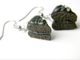 Chocolate Cake Earrings by cynthiardematteo