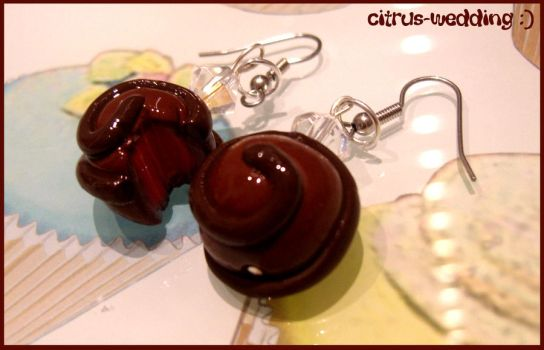 cherry chocolate earrings by citruscouture
