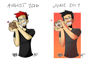 August 2016 vs June 2017 Collab Art Comparision by pika4tran