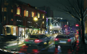 Raining night by zhuzhu