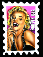 Marilyn Monroe stamp cut ACEO by chrisfurguson