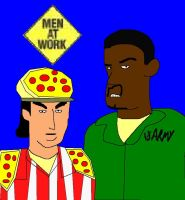 Pizza Man and Lous From Man At Work by ESPIOARTWORK-102