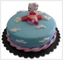 Hello kitty airplane cake by akr1