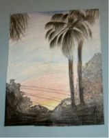 Florida Sunset: Colored Pencil by nothing-in-blood