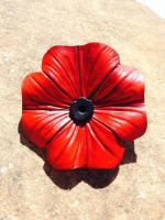Leather Remembrance Day Poppie by Oblivionleather76