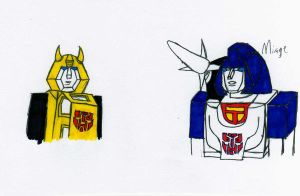 Bee and Mirage scribbles by UltraRodimus